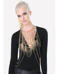 Bebe - Metallic Looped Chain Bib Body Chain - Lyst