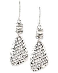 Kenneth Cole | Metallic Silver-tone Geometric Cut-out Drop Earrings | Lyst