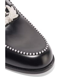 Christian Louboutin - Black Laperouza Embroidered Leather Loafers - Lyst