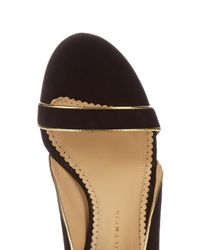 Charlotte Olympia - Black Christine Piped Suede Sandals - Lyst