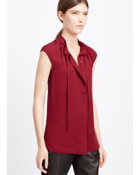 Vince | Purple Silk Cap Sleeve Tie Blouse | Lyst