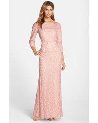 Tadashi Shoji | Pink Illusion Lace Gown | Lyst