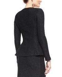 St. John - Black Sparkle Texture Double-breasted Jacket - Lyst