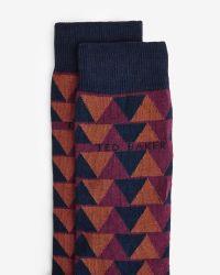 Ted Baker - Blue Triangle Pattern Organic Cotton Socks for Men - Lyst