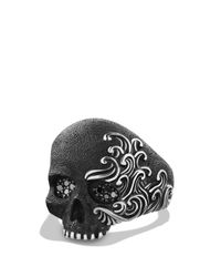 David Yurman | Metallic Waves Large Skull Ring With Black Diamonds for Men | Lyst