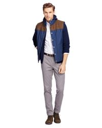 Brooks Brothers | Blue Vest With Tweed Yoke for Men | Lyst