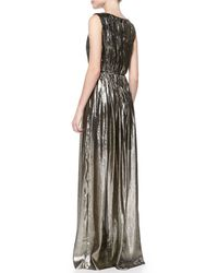 Alice + Olivia - Issa Pleated V-Neck Metallic Gown - Lyst