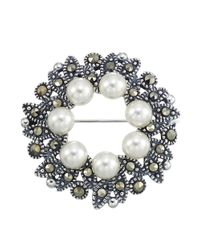 Lord & Taylor | Metallic Faux Pearl Marcasite And Sterling Silver Wreath Brooch | Lyst