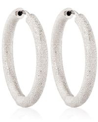 Carolina Bucci - Thick White Gold Sparkle Hoop Earrings - Lyst