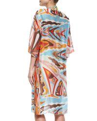 Emilio Pucci - Orange Celeste Sheer Printed Caftan Coverup - Lyst