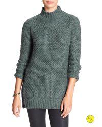 Banana Republic | Blue Factory Marled Mock-neck Sweater | Lyst