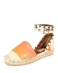 Valentino - Natural Rockstud Double Thong Sandal - Lyst