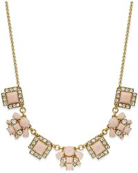 kate spade new york | Metallic Gold-tone Stone Frontal Necklace | Lyst
