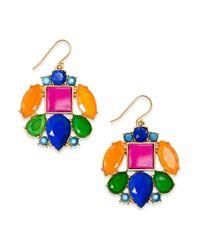 kate spade new york | Metallic New York Goldtone Multicolor Mosaic Drop Earrings | Lyst
