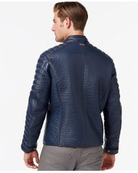 Marc New York | Blue Broadway Faux-leather Moto Jacket for Men | Lyst