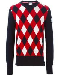 Moncler Gamme Bleu - Blue Argyle Pattern Sweater for Men - Lyst