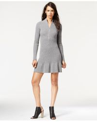 RACHEL Rachel Roy | Gray Ruffled Half-zip Sweater Dress | Lyst