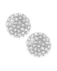 Kenneth Cole | Metallic Silvertone Pave Round Stud Earrings | Lyst