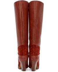 Chloé - Brown Rust Leather And Suede Tall Boots - Lyst