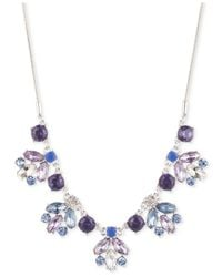 Nine West | Metallic Silver-tone Epoxy Stone And Crystal Frontal Necklace | Lyst