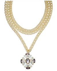 INC International Concepts | Metallic Gold-tone Chain Collar Jewel Pendant Necklace | Lyst