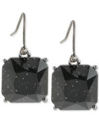 Kenneth Cole   Hematite-tone Sparkle Black Stone Drop Earrings   Lyst