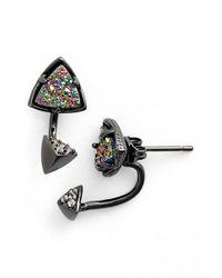 Kendra Scott | Metallic 'Brindley' Drop Back Earrings - Gunmetal Multi Drusy | Lyst
