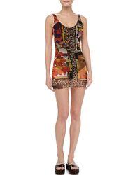 Jean Paul Gaultier - Multicolor Printed Sheer-overlay Swimdress - Lyst