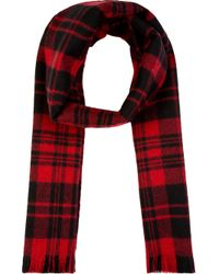 Saint Laurent - Red And Black Wool Plaid Scarf for Men - Lyst