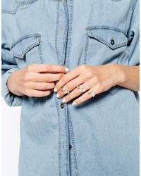 ASOS | Metallic Double Faux Pearl & Star Open Ring | Lyst