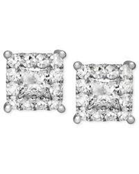 Macy's - Metallic Diamond Earrings, 14k White Gold Diamond Square Stud Earrings (1/2 Ct. T.w.) - Lyst