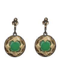 Armenta - Scalloped Green Onyx Diamond Shield Earrings - Lyst