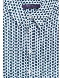 Violeta by Mango   Blue Printed Flowy Shirt   Lyst