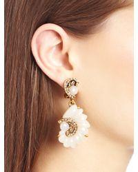 Oscar de la Renta | Metallic Resin Swirl Scalloped Earrings | Lyst