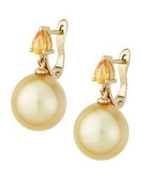 Belpearl - Metallic Yellow Sapphire  Golden South Sea Pearl Earrings - Lyst