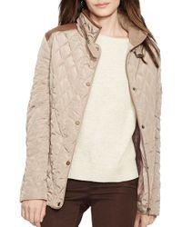 Lauren by Ralph Lauren | Brown Faux Leather Trim Quilted Jacket | Lyst