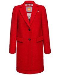 BOSS Orange | Red 'obecki' | Virgin Wool Blend Bonded Car Coat | Lyst