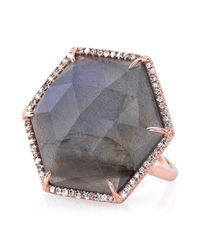 Anne Sisteron | Gray 14kt Rose Gold Labradorite Diamond Hexagon Cocktail Ring | Lyst