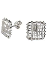 Aeravida | Metallic Open Square Wire Wrap Sterling Silver Post Earrings | Lyst