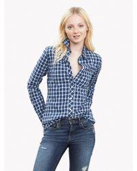 Banana Republic | Blue Soft-wash Gingham Flannel Boyfriend Shirt | Lyst