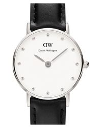 Daniel Wellington | Black 'classy Sheffield' Crystal Index Leather Strap Watch | Lyst