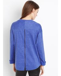 VINCE | Purple Rolled Sleeve Knit Top With Contrast Detail | Lyst
