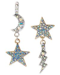 Betsey Johnson - Blue Two-Tone Star And Moon Drop Earrings - Lyst