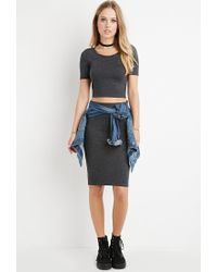 Forever 21 | Gray Space Dye Crop Top | Lyst