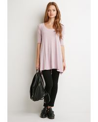 Forever 21 | Pink Raw-cut Longline Trapeze Tee | Lyst