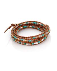 Chan Luu - Brown Turquoise & Mother-of-pearl Leather Multi-row Beaded Wrap Bracelet - Lyst