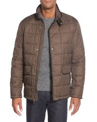 Cole Haan | Brown Leather Trim Quilted Jacket for Men | Lyst