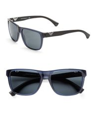 Emporio Armani | Blue 58mm Logo Square Sunglasses for Men | Lyst