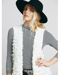 Free People - White Womens Rolling Stone Fur Vest - Lyst