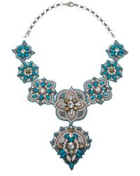 Deepa Gurnani | Blue Bead Embellished Necklace | Lyst